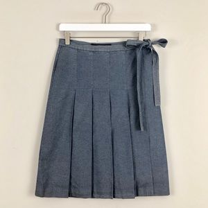 French Connection Pleated Chambray Wrap Skirt